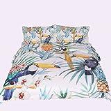 3D効果完全な寝具セット羽毛カバー鳥の花の白と緑の枕キルト通気性(シングルダブルクイーンキング)3つの作品,220*240Cm Rventric