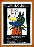 ポスター エドゥアルド・ムニョス・バッチ El lobo y los chivitos - Elisabeta Bostan (エリザベータ・ボスタン) 額装品 ウッドベーシックフレーム(オレンジ)