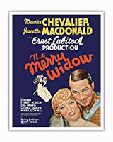 The Merry Widow - 主演 Maurice Chevalier, Jeanette MacDonald - Ernst Lubitsch監督 - ビンテージなフィルム映画のポスター c.1934 - アートポスター - 41cm x 51cm
