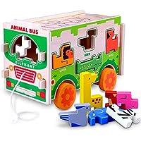 Gamenote ジャンボ木製シェイプソーター動物バス ジグソーとシーソーゲーム – 教育用プルプッシュトラックおもちゃ 幼児と赤ちゃん用