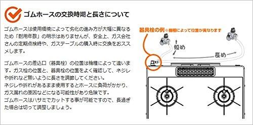 新ガスソフトコード(都市ガス用ゴムホース 内径9.5mm) 0.6m ホースバンド付き+ゴム管用ソケット
