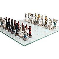 第2次世界大戦テーマの戦いPearl Harborチェスセット米国vs日本ハンドペイントガラスボード