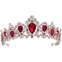 Frcolor Wedding Royal Tiara Crown Bridal Crystal Tiara Crown for Pageant Wedding Bridal Beauty Contest Prom Party (Red)