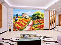 写真壁紙リビングルームの壁画の木と田舎の風景油絵ソファテレビの壁紙壁の布 (W)250*(H)175cm A