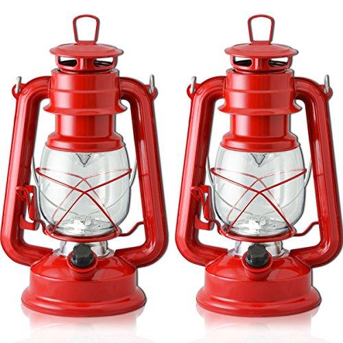 FIELDOOR アンティーク LEDランタン 2個セット 【レッド】暖色 明るさ無段階調整 グランピング オーナメント 吊るし キャンプ BBQ オイルランプ風