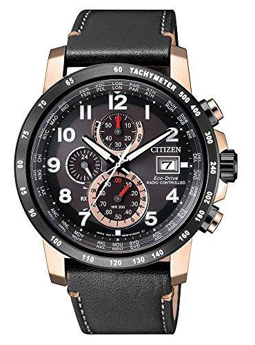 逆輸入 シチズン エコドライブ 電波ソーラー クロノグラフ ワールドタイマー ウォッチ 腕時計 時計 電波時計 メンズ ブラック ローズゴールド CITIZEN AT8126-02E [並行輸入品]