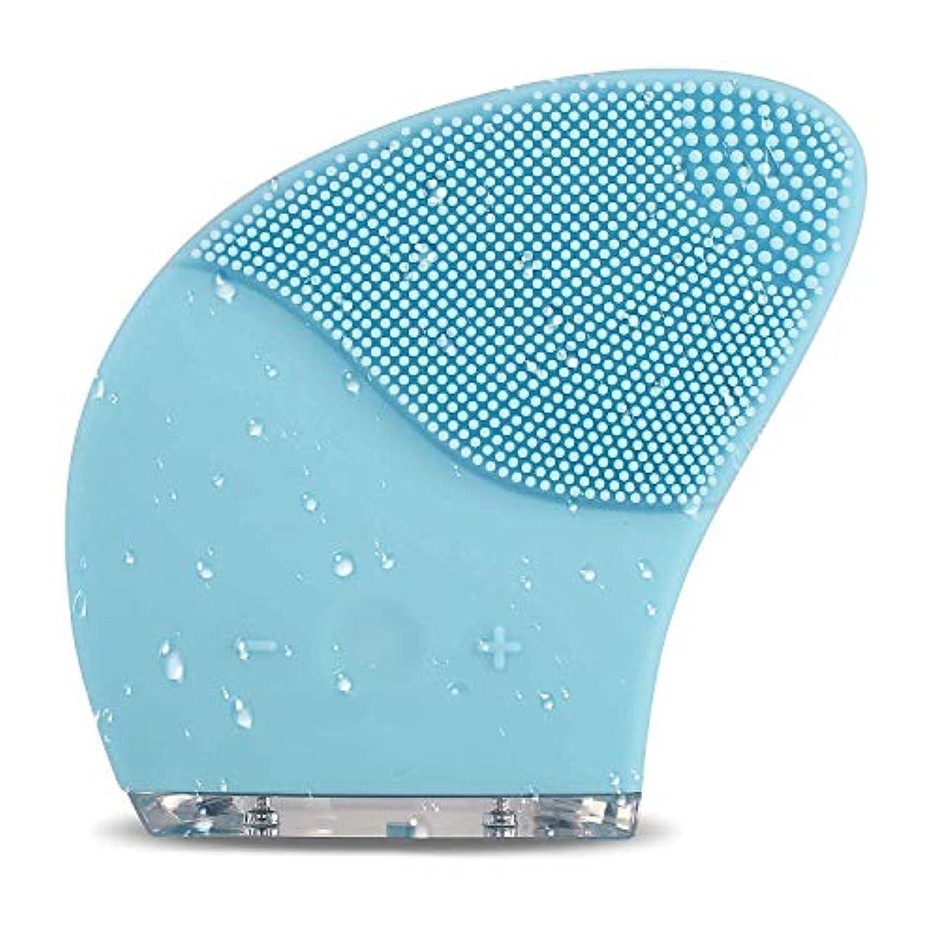 ポルトガル語笑オープニングフェイシャルクレンジングブラシフェイススクラバーIP66防水電動フェイスクレンザーとすべての肌タイプのマッサージブラシ、USB充電式、青