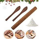 Wooden Rolling Pin with Spoon Essential Wooden Utensil Baking Equipment for Cookie Pastry,Dumplings,3 Piece Set