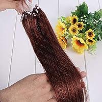 FidgetGear 二重引かれたRemyの人間の毛髪延長ループマイクロリングシリコーンビーズ16-26Inch #33ダークオーバーン