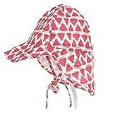 子供用 日除け帽子 ハット つば広 あご紐付 UVカット サンバイザー 可愛い サンハット キャップ 日焼け対策 紫外線カット 男の子 女の子 (大(48~54cm), スイカ)