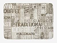 IACC ドアマット Modern Bath Mat, Wooden Background with Coffee Phrase Espresso Hot Chocolate Cappuccino Design, Plush Bathroom Decor Mat with Non Slip Backing, 23.6 W X 15.7 W Inches, Beige Army Green