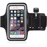 MOPOアームバンド ランニングスポーツ防汗アームバンド iPhone 5s/ iPhone5/iPhone5c/iPhone 6 4.7インチ対応 キーホルダー付き 超軽量 調節可アームバンドケース (ブラック)
