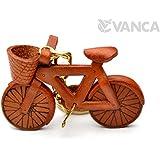 自転車 本革製 立体キーホルダー VANCA CRAFT 革物語 (日本製 ハンドメイド)