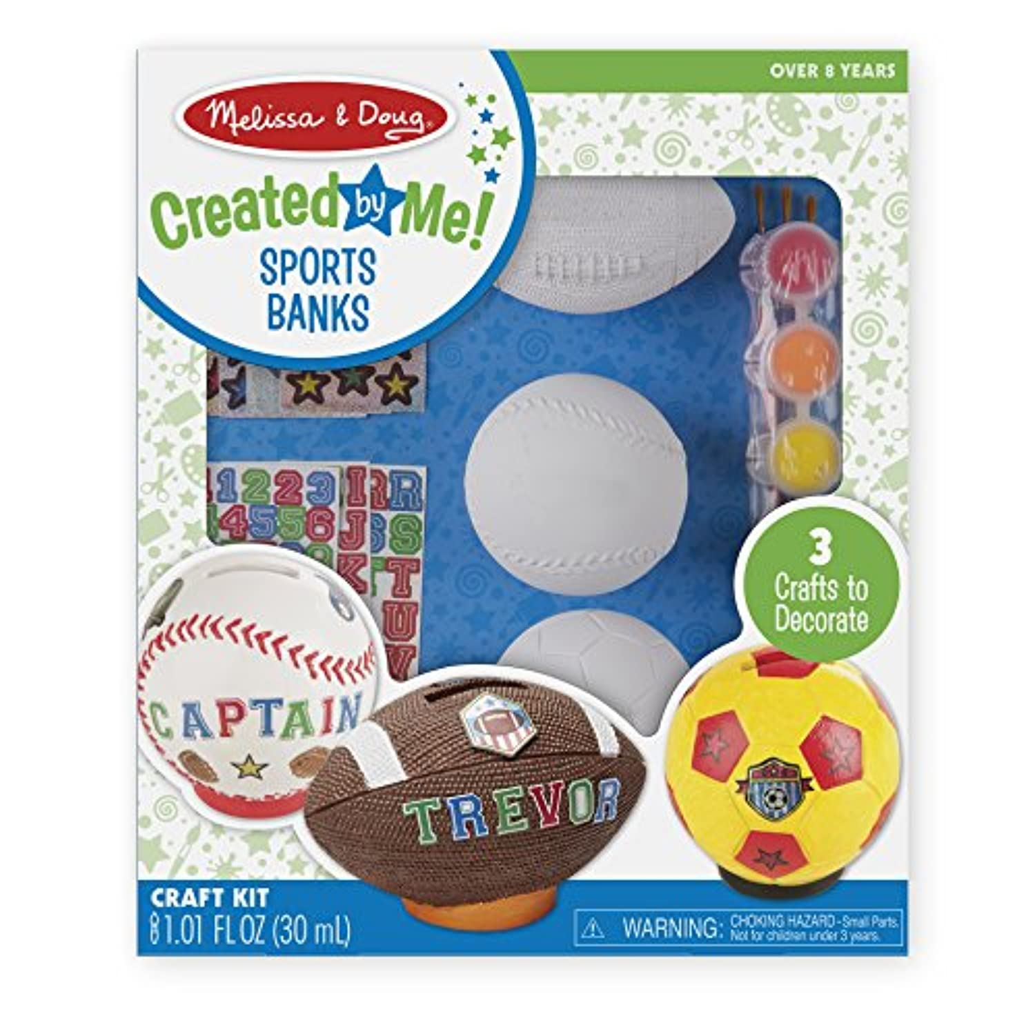 Melissa & Doug decorate-your-ownスポーツセットクラフトキット – サッカー、野球、サッカー銀行