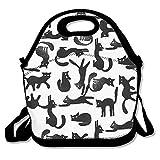 黒猫 保冷 弁当袋 ランチバッグ トートバッグ ウトドア 防水 伸縮性 ファスナー付き 折りたたみ式 通勤 学校に適用