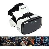 OYOVR VR ゴーグル VRメガネ ヘッドマウント ヘッドセット 超3D映像効果 最新モデル イヤホン付き ボタンでプレイ、ポーズ、電話に出ることができる 4.7-6.2inchのスマホに対応が可能 ホワイト