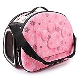 【Realpet】ペットバッグ 中小型 猫犬用 ハンドバッグ 軽量 コンパクト 収納 折りたたみ リュックサック 2WAY EVA 携帯しやすい アウトドア 旅行 お出かけ便利 6色選択可能 (ピンクの花)