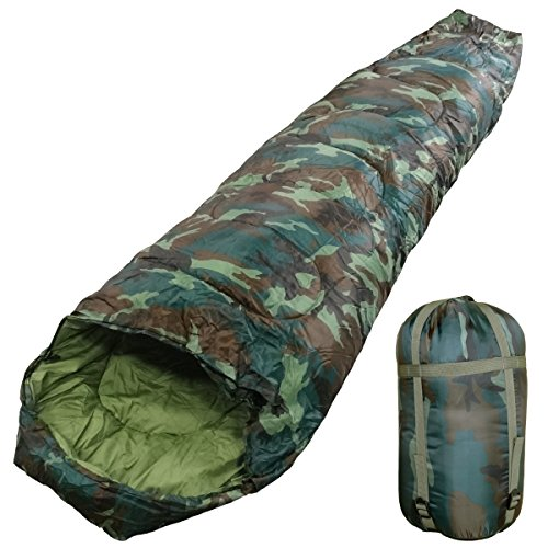 WhiteSeek 寝袋 シュラフ マミー型 【最低使用温度-5℃ 1450g】 (迷彩)