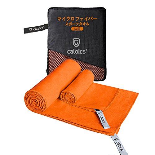Caloics®速乾タオル 超吸水&抗菌防臭 マイクロ ファイバー スポーツ タオル バスタオル 2枚セット 肌触りが優しい 敏感肌も適用 登山・スポーツ・旅行に最適(オレンジ)