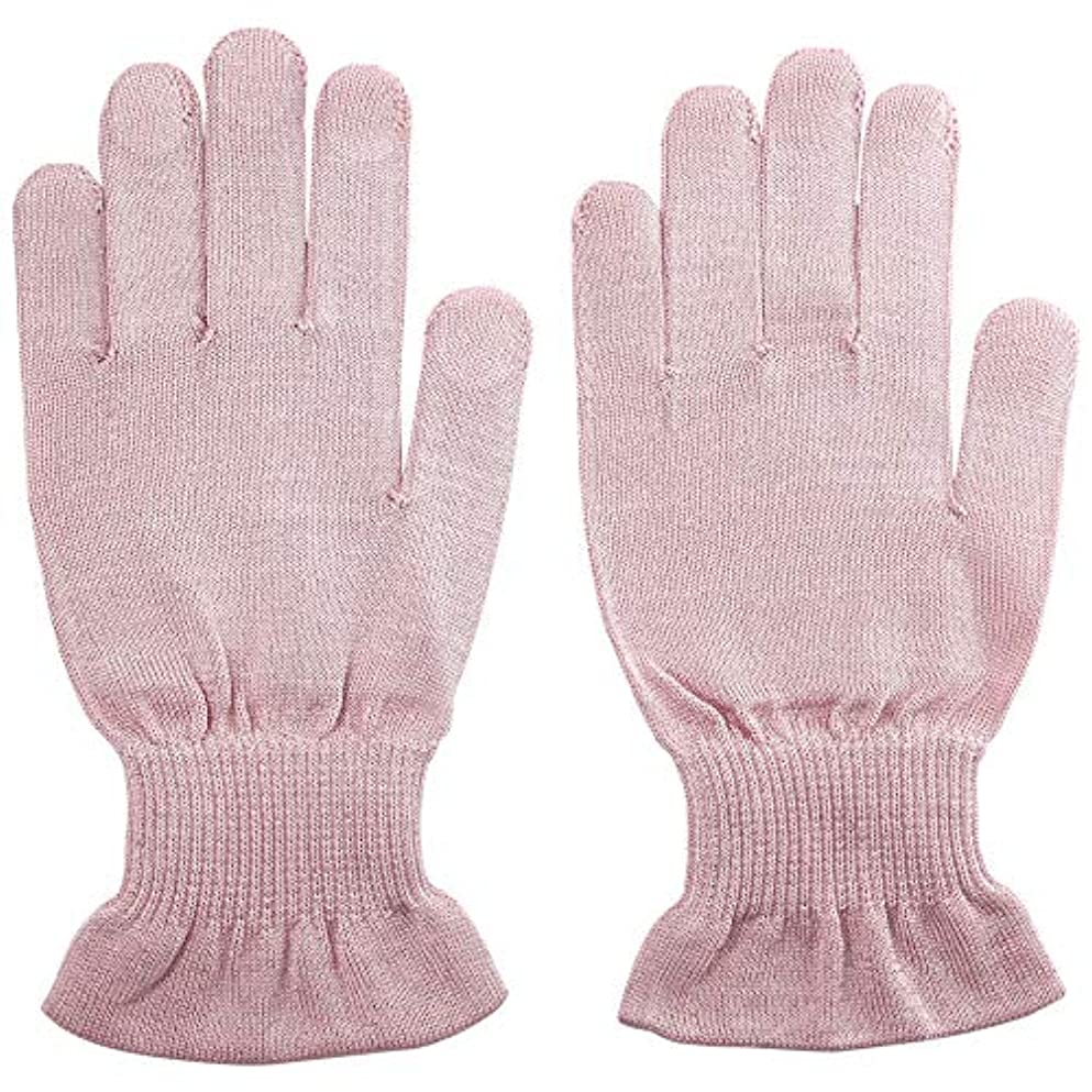 マート永久に神秘的な温むすび ハンドケア手袋 【手のひら美人 女性用 M~Lサイズ】 ペールピンク