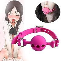 SM口枷 ボール 穴あり 口栓 口塞 唾液 調節可能 シリコーン 男女兼用 完全防水 エロおもちゃ 大人のおもちゃ ピンク