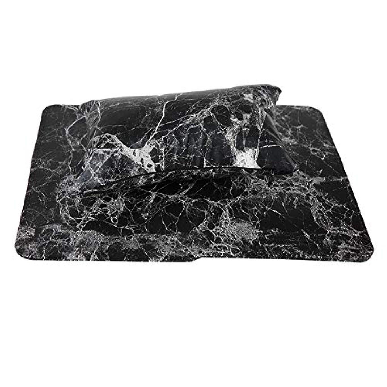 はさみ大理石天気新しいネイルハンドピローアップ材料は手洗いすることができます(黒)