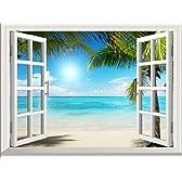 ウォールステッカー 壁紙シール/ 窓 海 砂浜 ビーチ 太陽 ヤシの木 風景