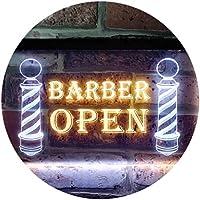 Open Barber Walk Ins Welcome Dual Color LED看板 ネオンプレート サイン 標識 白色 + 黄色 300 x 210mm st6s32-i0044-wy