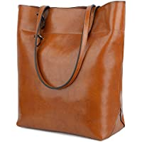 Yaluxe Women's Leather Tote Work Bag Purse Tall Hobo Shoulder Bag Zipper Closure