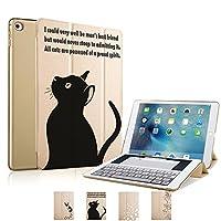 MIxUP iPad Air2 スマート カバー アイパッド エア2 ケース 一体型 オートスリープ Air2 スタンド ケースカバー 黒猫 ネコ 猫 金 ゴールド MXP-smA2-bkcat/GD