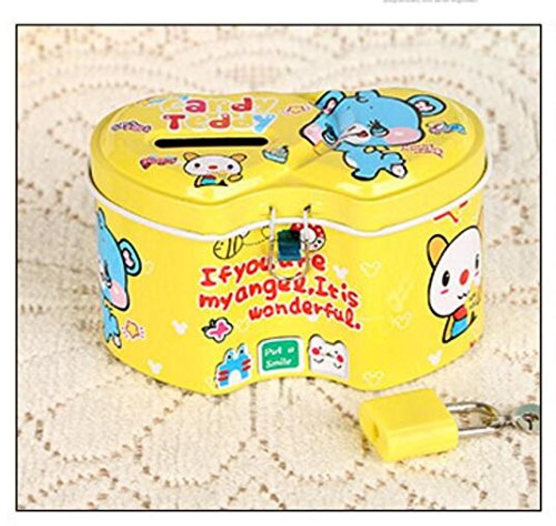 マネー バンク 興味深い二重ハート型の貯金箱プレミアムティンプレート貯蔵ボックス(黄色)