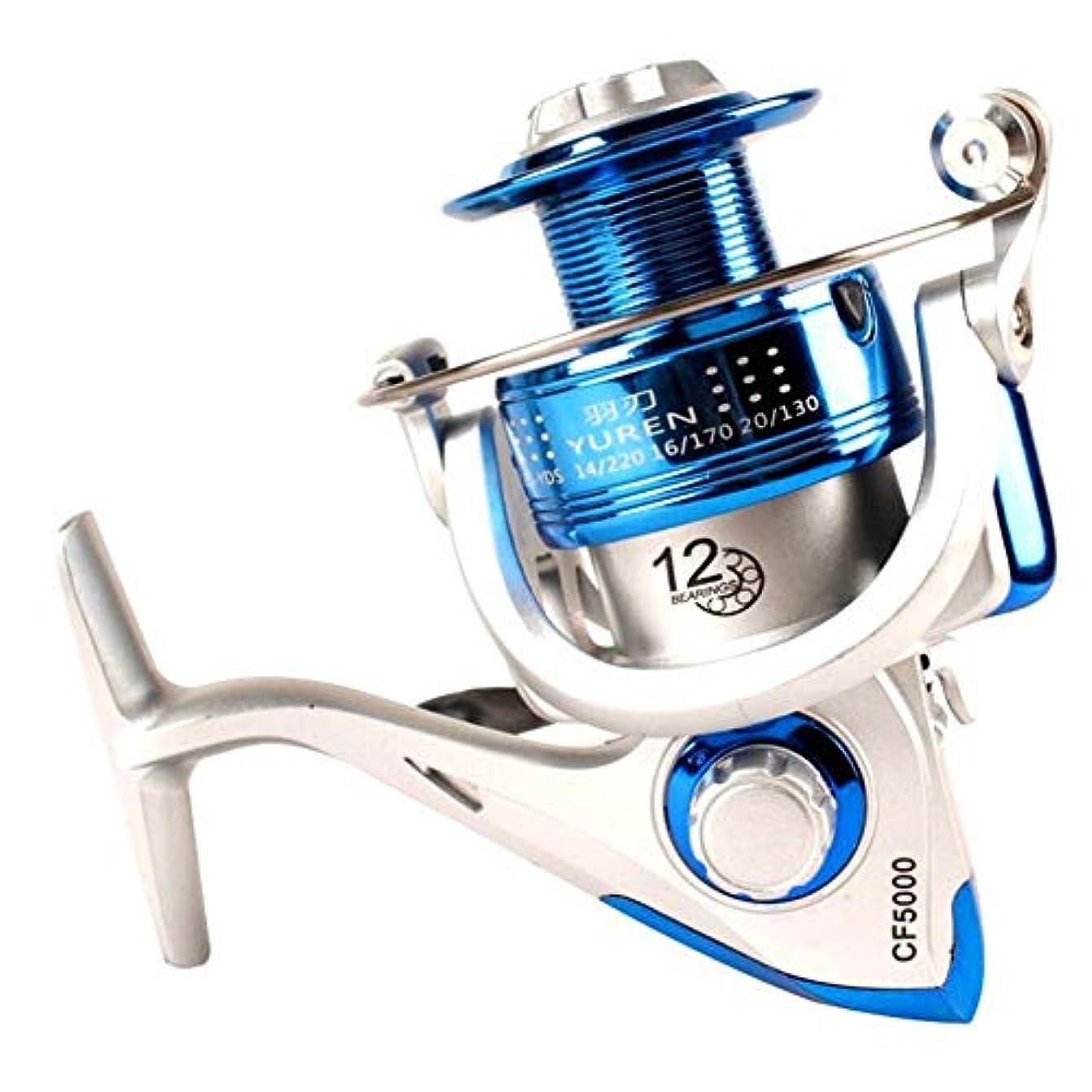 支出暴動貪欲スピニングリール フルメタルボディドラッグワッシャー付きフィッシングリール 軽量リール 海釣り 淡水釣り (Color : Blue, Size : 2000)