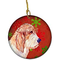 Carolines Treasures LH9352-CO1 Petit Basset Griffon Vendeen Red Snowflake Holiday Christmas Ceramic Ornament