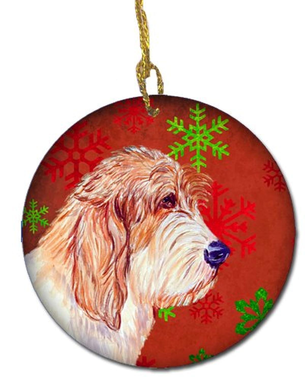 Carolines Treasures LH9352-CO1 Petit Basset Griffon Vendeen Red Snowflake Holiday Christmas Ceramic Ornament
