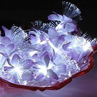 【富貴株式会社】イルミネーション ライト 6M 飾り付き 50玉 高輝度 LEDイルミネーションライト 白紫らん光ファイバー花型、白色LED LITE (クリスマスツリーライト 学園祭 祭り LED イルミネーション ライト )