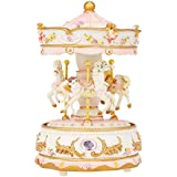 Docooler Mini Carousel Clockwork Music Box Colorful LED Merry-go-Round Musical Box Gift for Girlfriend Kids Children Christmas Festival Pink
