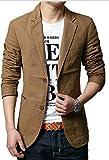 メンズ テーラードジャケット スーツ生地 紳士 カジュアル ビジネス 長袖 二つボタン テーラード テイラード ジャケット 大きいサイズ CH004 (M, キャメル)