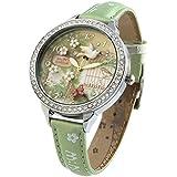 腕時計 レディース ガール グリーン クオーツ アナデジ表示 海外モデル W291 三次元手作りポリマー粘土飛ぶ鳥