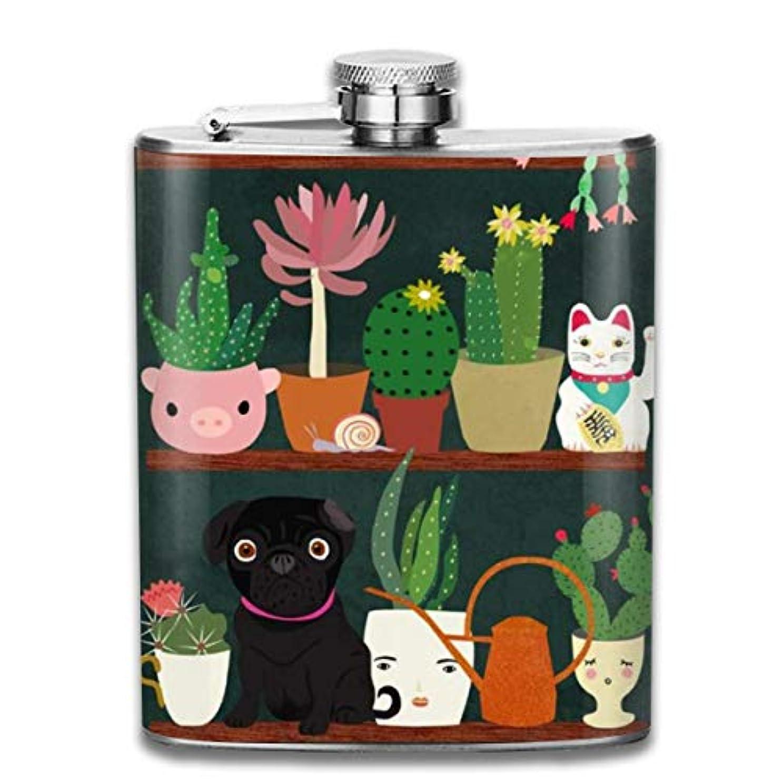 横ジャズ私たち動物とサボテン盆栽フラスコ スキットル ヒップフラスコ 7オンス 206ml 高品質ステンレス製 ウイスキー アルコール 清酒 携帯 ボトル