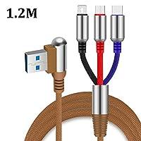 TONVER 3in1充電ケーブル 2.0A 急速充電 1.2m ライトニング/Type-c/Micro USBケーブル 充電&同期ケーブル 高耐久ナイロン編みケーブル 亜鉛合金 コネクタ 1本3役 多機種対応