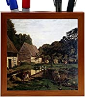 Rikki Knight Claude Monet Art a Farmyard in Normandy Design 5-Inch Wooden Tile Pen Holder (RK-PH3471) [並行輸入品]