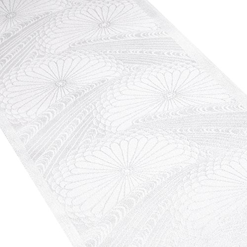 (キョウエツ) KYOETSU 正絹半衿 礼装用 半襟 地紋入り 白 単品 (5.菊花に流水)