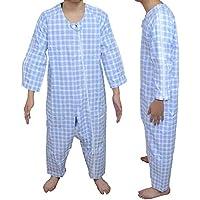 Carecoa つなぎパジャマ 介護 パジャマ 介護つなぎ 介護寝間着 介護用パジャマ 特殊なホックで開けにくい構造 (ブルー, L)