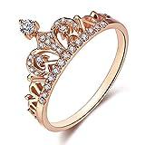 レディース クラウン リング ティアラ プリンセス クイーン 指輪 18K ローズ ゴールド めっき 小さな CZ ウエディング リング