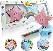NAVANA Rainbow Bath Bomb Gifts - 3 Different Rainbows 3 Times The Fun - Large Magic Rainbow Bath Bombs for Kid