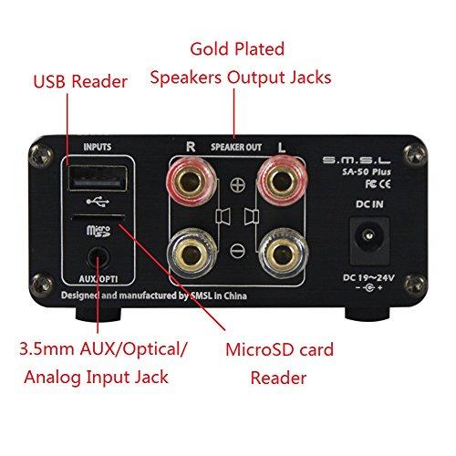 SMSL SA-50 PLUS デジタルアンプ 2017年新発売 リモコン付き ディスプレイ画面あり 多言語対応