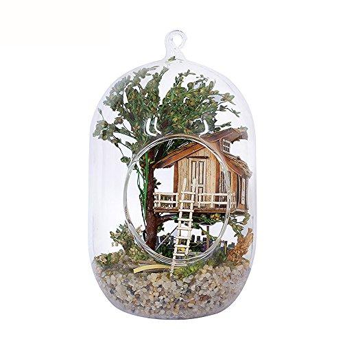 (moin moin) ミニチュア ドールハウス キット ガラス ボール テラリウム シリーズ No.2( 木の上の家 ツリーハウス ) 音感センサー搭載 LEDライト ベース