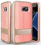 Samsung Galaxy S7ケース、Vena[vAllure]波織地[バンパー・フレーム][耐震性のコーナーガード | 強いグリップ]サムスン ギャラクシー S7専用 極薄複合型カバー (ゴールド/ピンク)