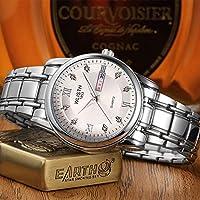 QTMIAO美しい機械式時計 メンズ腕時計メンズ腕時計スチールベルトダブルカレンダークォーツ腕時計非機械式時計 (Color : 2)