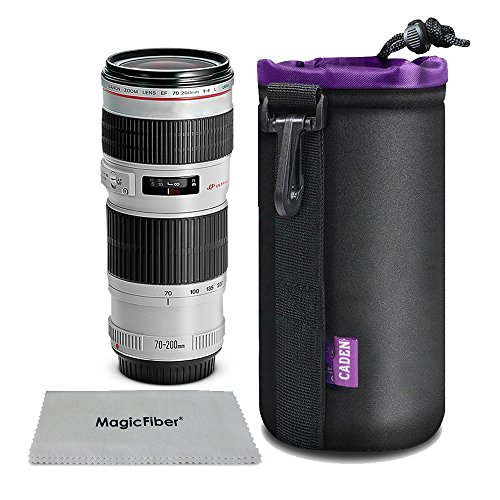 Cadenソフトカメラレンズケース 厚手 超柔らかい 防水カメラレンズポーチフック付(大)